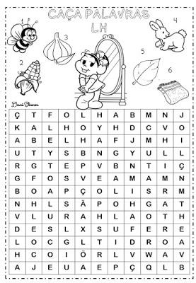 Atividades de alfabetização, atividades de Ortografia, Dificuldades ortográficas, Sílaba LH, caça palavras,