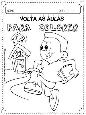 Desenhos para colorir, volta as aulas, desenhos infantis, para imprimir, Coordenação Motora,