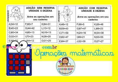 Atividades de Matemática, Operações matemáticas, Adição, multiplicação, Divisão, subtração,