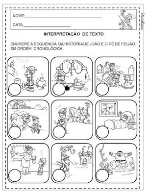 Atividades com livros de literatura infantil, João e o pé de feijão, Contos de fadas, Educação Infantil, alfabetização,