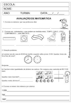 3º ano, Avaliação Bimestral, AVALIAÇÕES, avaliação formativa,Avaliação matemática